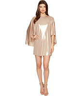 Halston Heritage - Flowy Sleeve Round Neck Metallic Jersey Dress