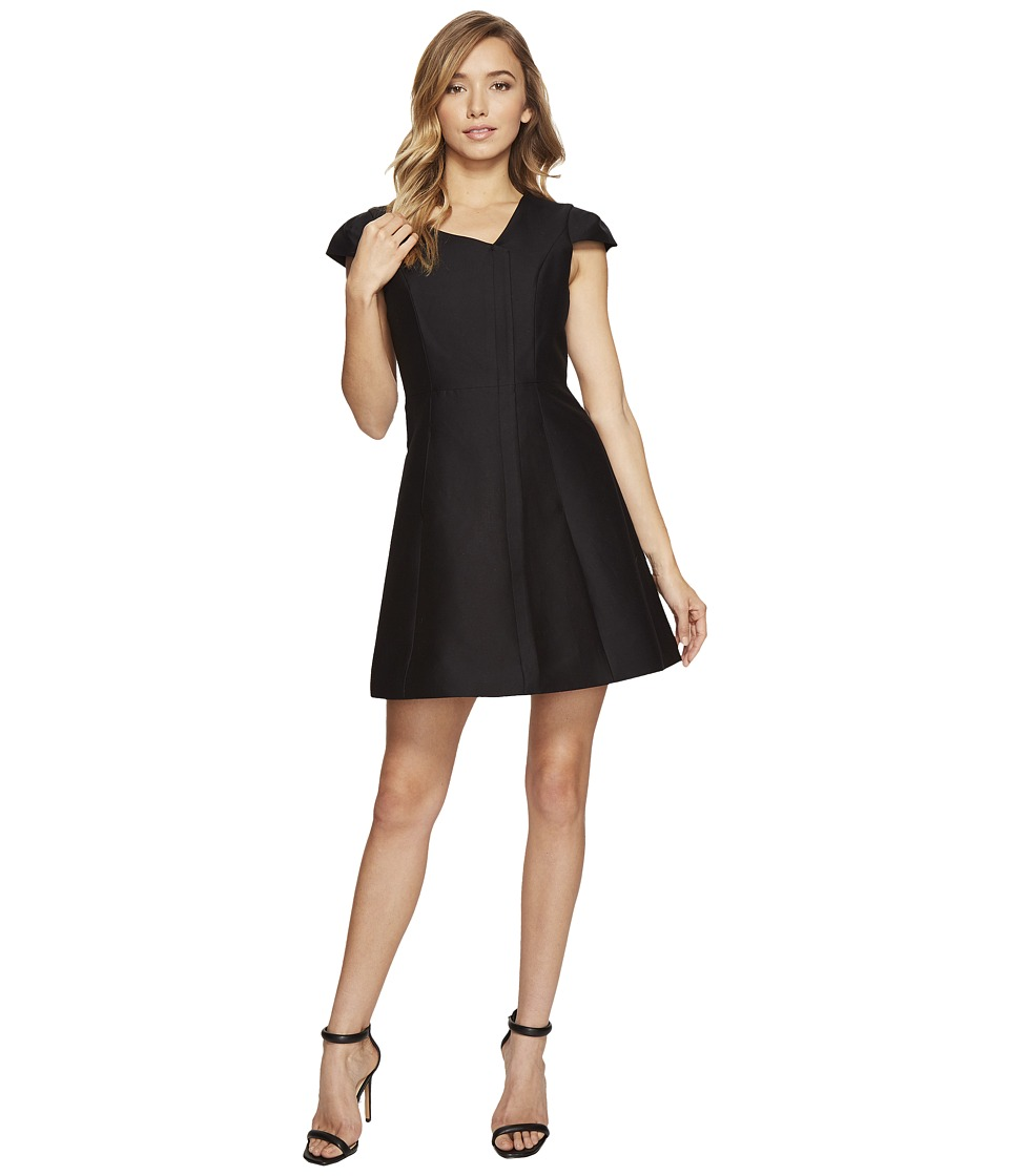 Halston Heritage - Cap Sleeve V-Neck Silk Faille Dress (Black) Womens Dress