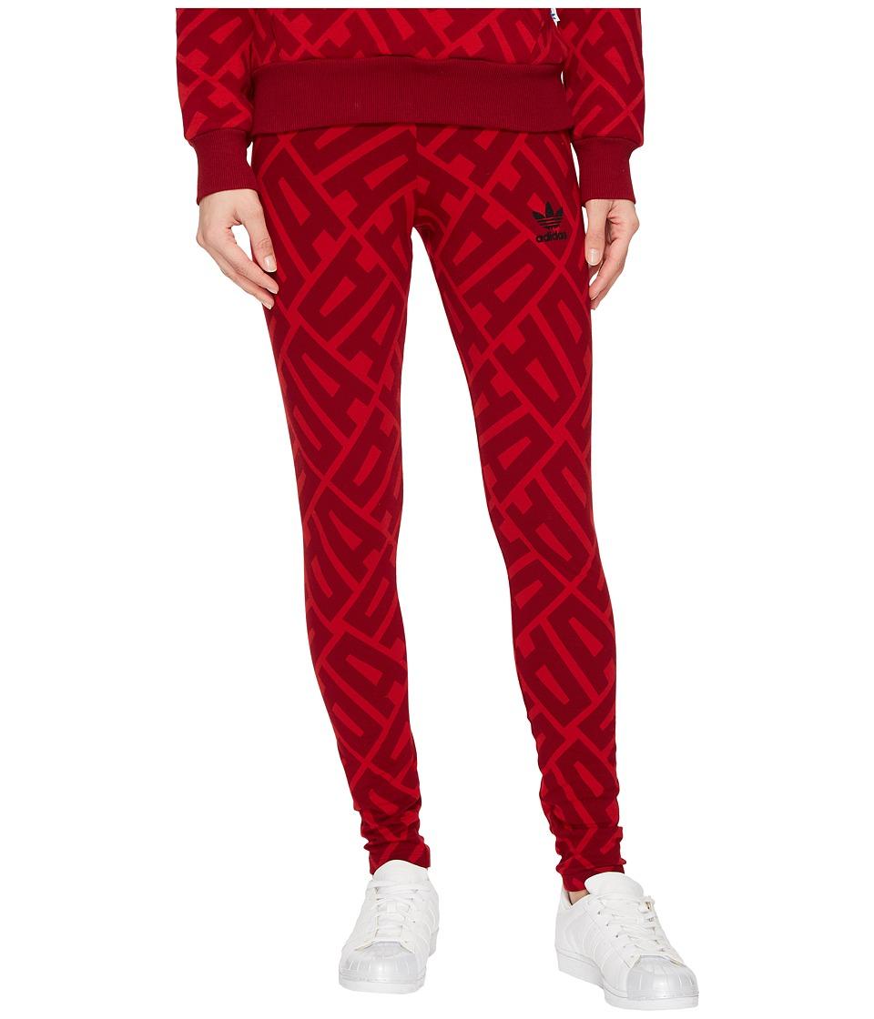 adidas Originals AOP Tights (Power Red/Collegiate Burgundy) Women