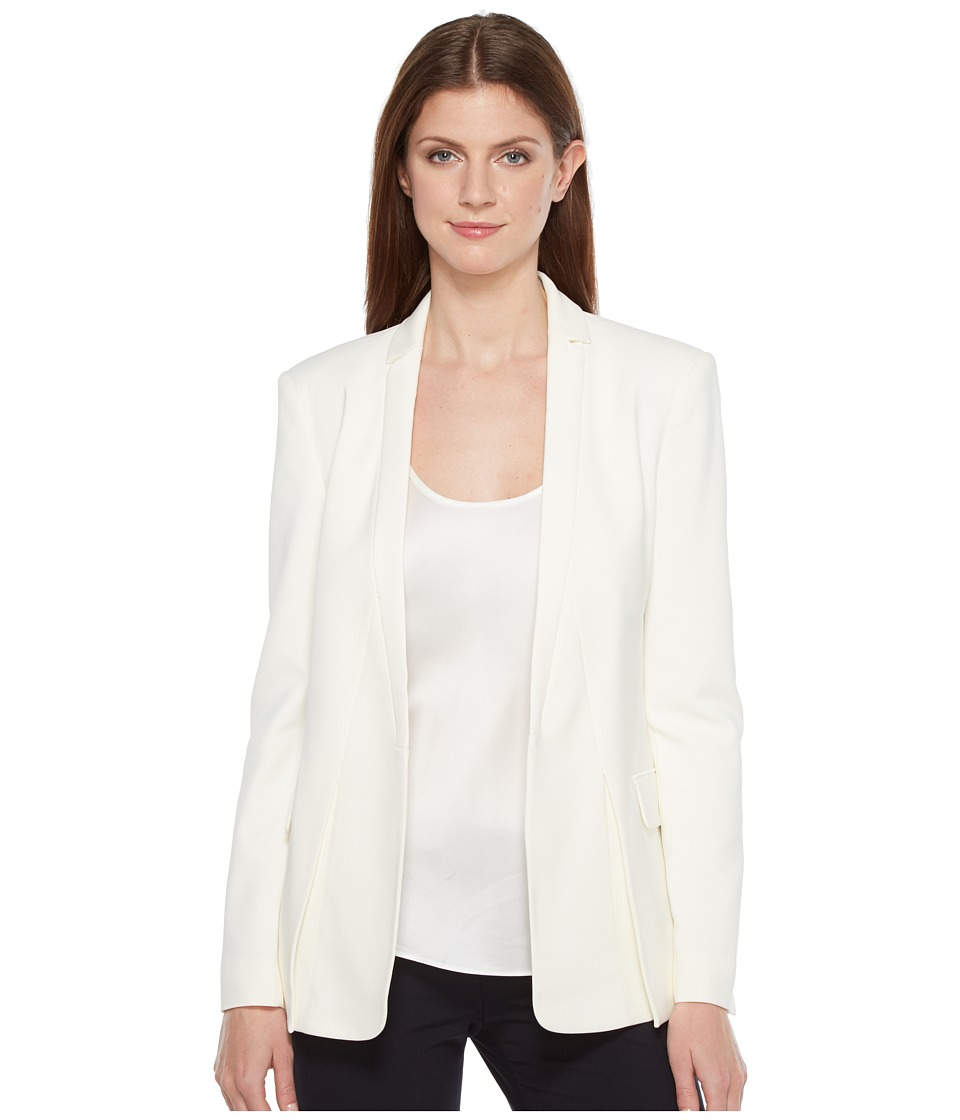 Halston Heritage - Long Sleeve Jacket w/ Notch Detail (Cream) Womens Coat