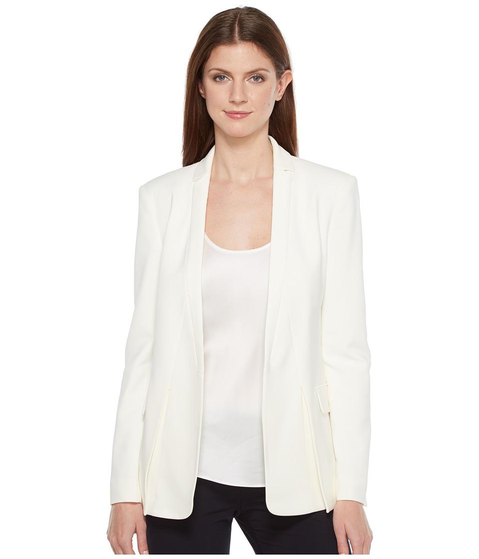 Halston Heritage - Long Sleeve Jacket w/ Notch Detail (Cream) Womens Coat