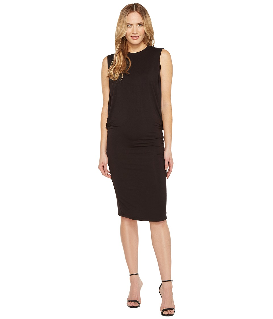Halston Heritage Sleeveless Fitted Drape Jersey Dress (Black) Women