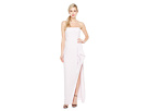 Strapless Notch Front Crepe Gown w/ Flounce