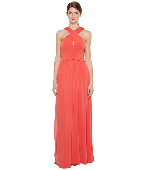 Halston Heritage Sleeveless Cross Neck Jersey Gown w/ Back Knot Detail