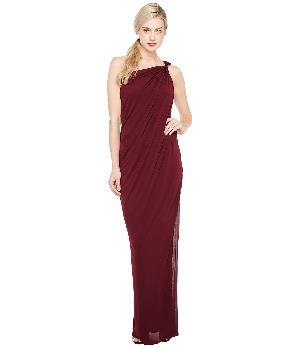 Halston Heritage One Shoulder Draped Jersey Gown w/ Slit (Blackberry) Women