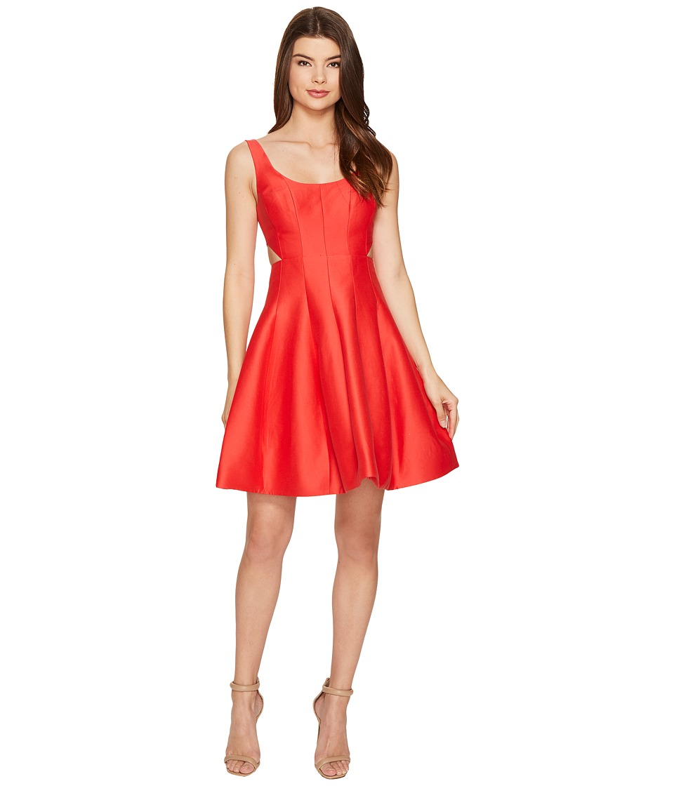 Halston Heritage Sleeveless Scoop Neck Silk Faille Dress w/ Cut Outs (Poppy) Women