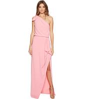Halston Heritage - One Shoulder Crepe Gown w/ Flounce Drape