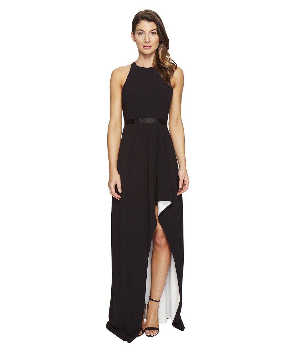 Halston Heritage Sleeveless High Neck Color Blocked Gown w/ High-Low Skirt (Black/Chalk) Women