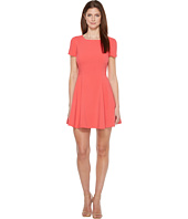 Halston Heritage - Short Sleeve Wide Crew Fit & Flare Dress