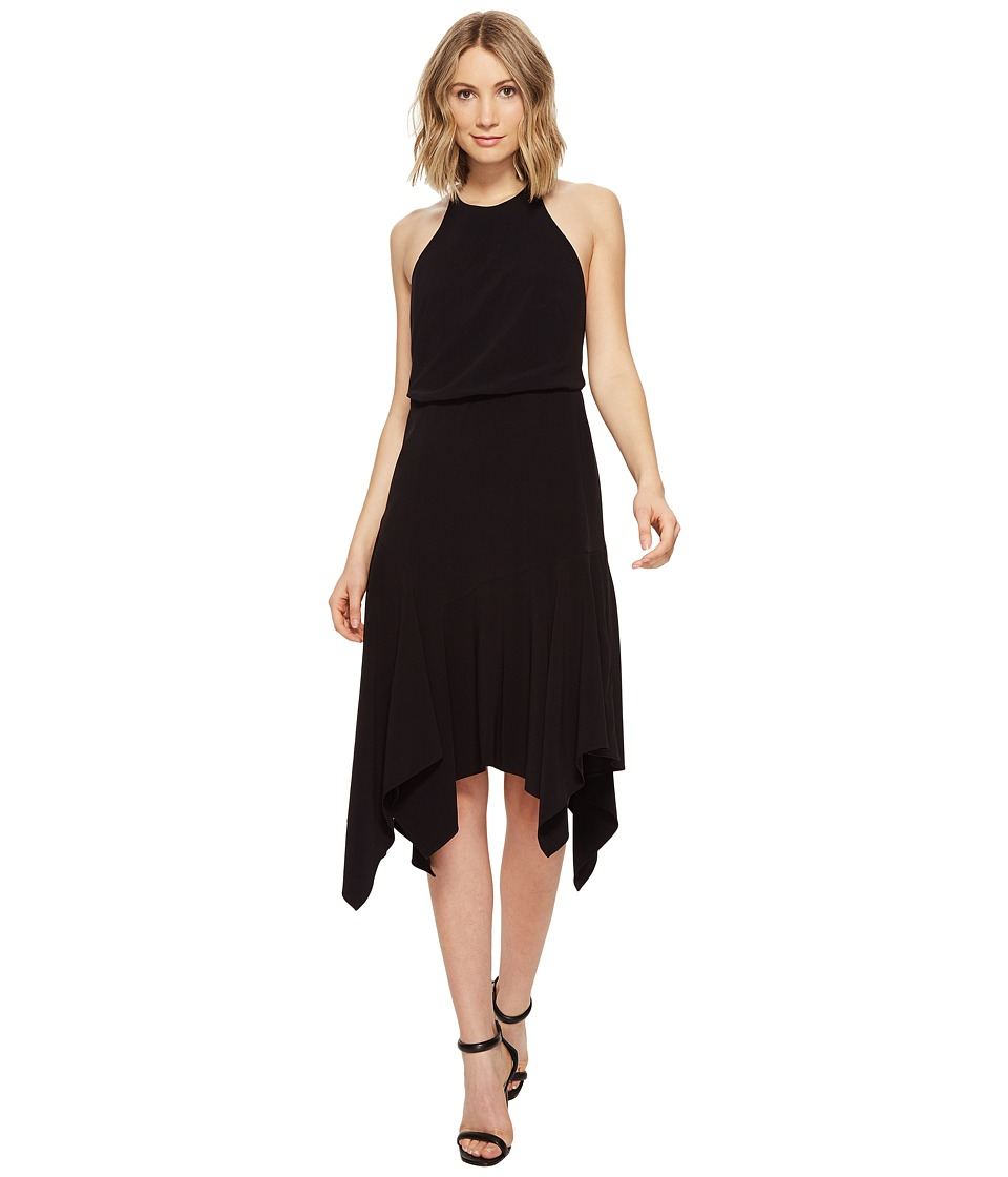 Halston Heritage Sleeveless Round Neck Flounce Skirt Dress w/ Back Straps (Black) Women
