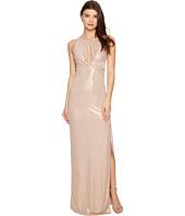 Halston Heritage - Sleeveless Round Neck Metallic Jersey Gown w/ Front Keyhole