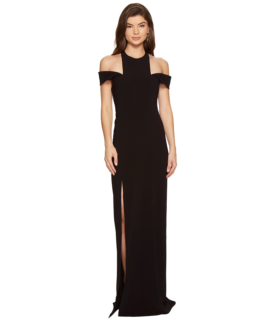 Halston Heritage Sleeveless Cold Shoulder Round Neck Crepe Gown (Black) Women