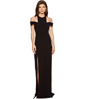 Halston Heritage - Sleeveless Cold Shoulder Round Neck Crepe Gown