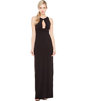 Halston Heritage - Sleeveless Round Neck Crepe Gown w/ Front Keyhole