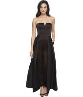 Halston Heritage - Strapless Jumpsuit with Structured Skirt Overlay