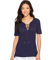 MICHAEL Michael Kors - Elbow Sleeve Lace-Up Tee