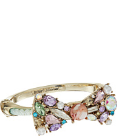 Betsey Johnson - Mixed Multicolored Stone Bow Pearl Mesh Tube Hinged Bangle Bracelet