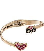 Betsey Johnson - Owl & Pave Heart Bypass Hinged Bangle Bracelet
