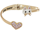 Cat & Pave Heart Bypass Hinged Bangle Bracelet
