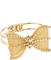 Betsey Johnson - Mesh Crystal Bow Hinged Bangle Bracelet