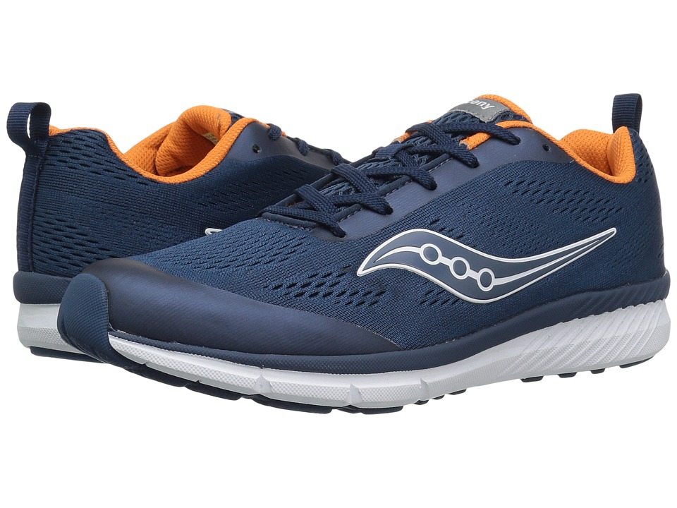 Saucony Kids Ideal (Little Kid/Big Kid) (Navy/Orange) Boys Shoes