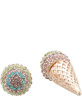 Betsey Johnson - Pave Ice Cream Cone Ear Jacket Earrings