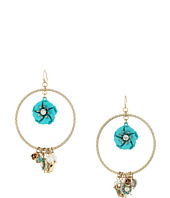 Betsey Johnson - Flower Mixed Multi Charm Round Orbital Earrings