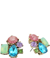 Betsey Johnson - Mixed Multicolored Stone Cluster Button Stud Earrings