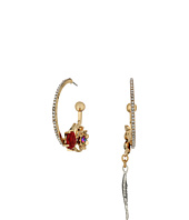 Betsey Johnson - Multi Charm Non-Matching Hoop Earrings