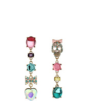 Betsey Johnson - Pave Skull & Bow Mixed Multicolored Stone Non-Matching Linear Earrings