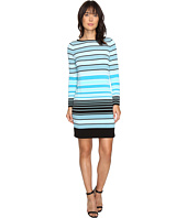 MICHAEL Michael Kors - Abbey Stripe Long Sleeve Border Dress