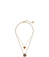 Betsey Johnson - Heart & Mixed Stone Ball Double Pendant Necklace