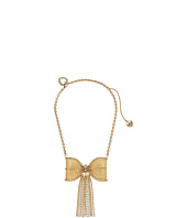 Betsey Johnson - Large Mesh Crystal Bow Fringe Frontal Necklace