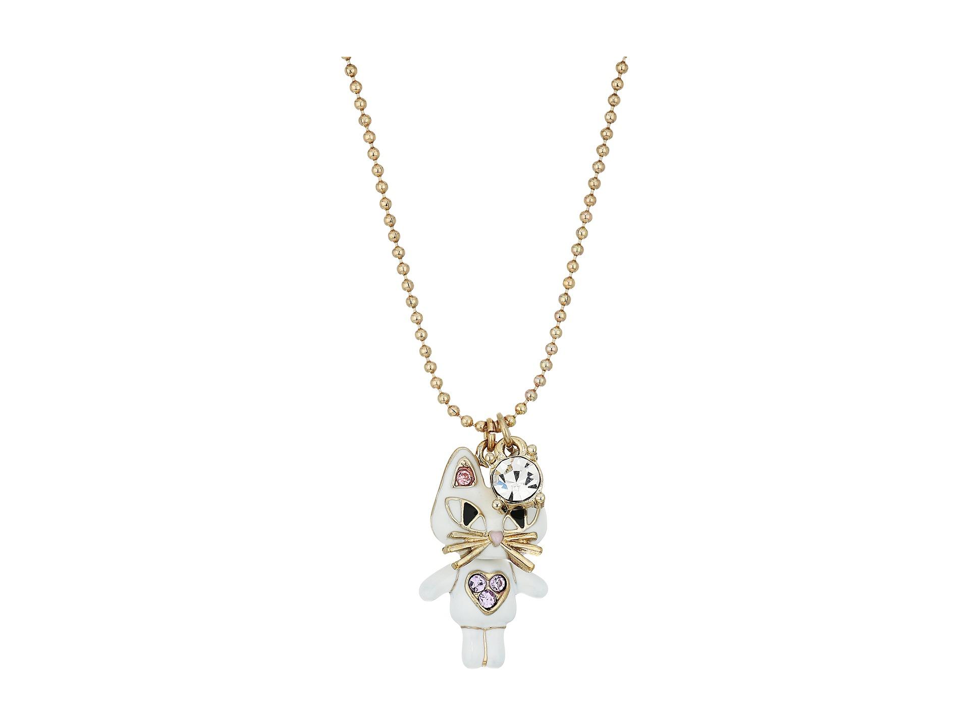 betsey johnson cat pendant necklace white zappos