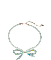 Betsey Johnson - Mixed Charm Bow Frontal Pearl Mesh Tube Necklace