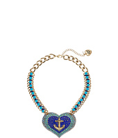 Betsey Johnson - Anchor Pave Heart Pendant Necklace