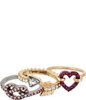 Betsey Johnson - Pave Heart & Pretzel Ring Set