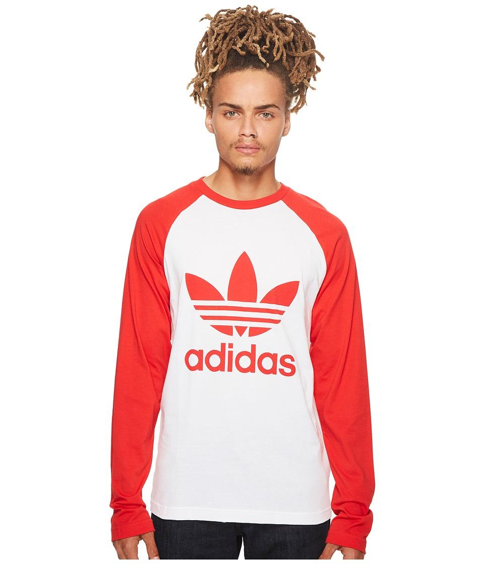 adidas Originals Trefoil Long Sleeve Tee (White/Vivid Red) Men