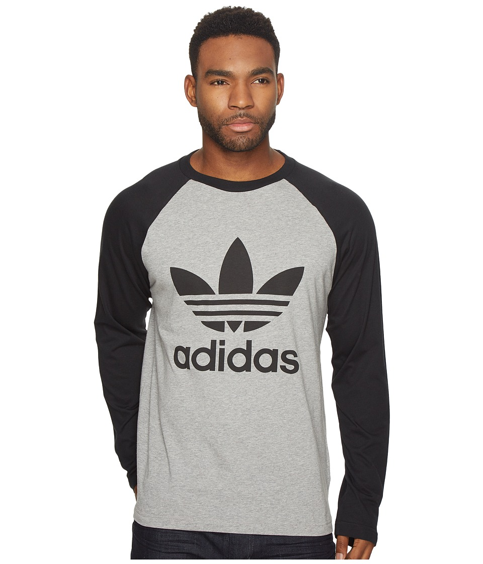 adidas Originals Trefoil Long Sleeve Tee (Medium Grey Heather/Black) Men