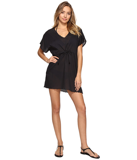 Echo Design Solid Scallop Tunic Cover-Up - Black