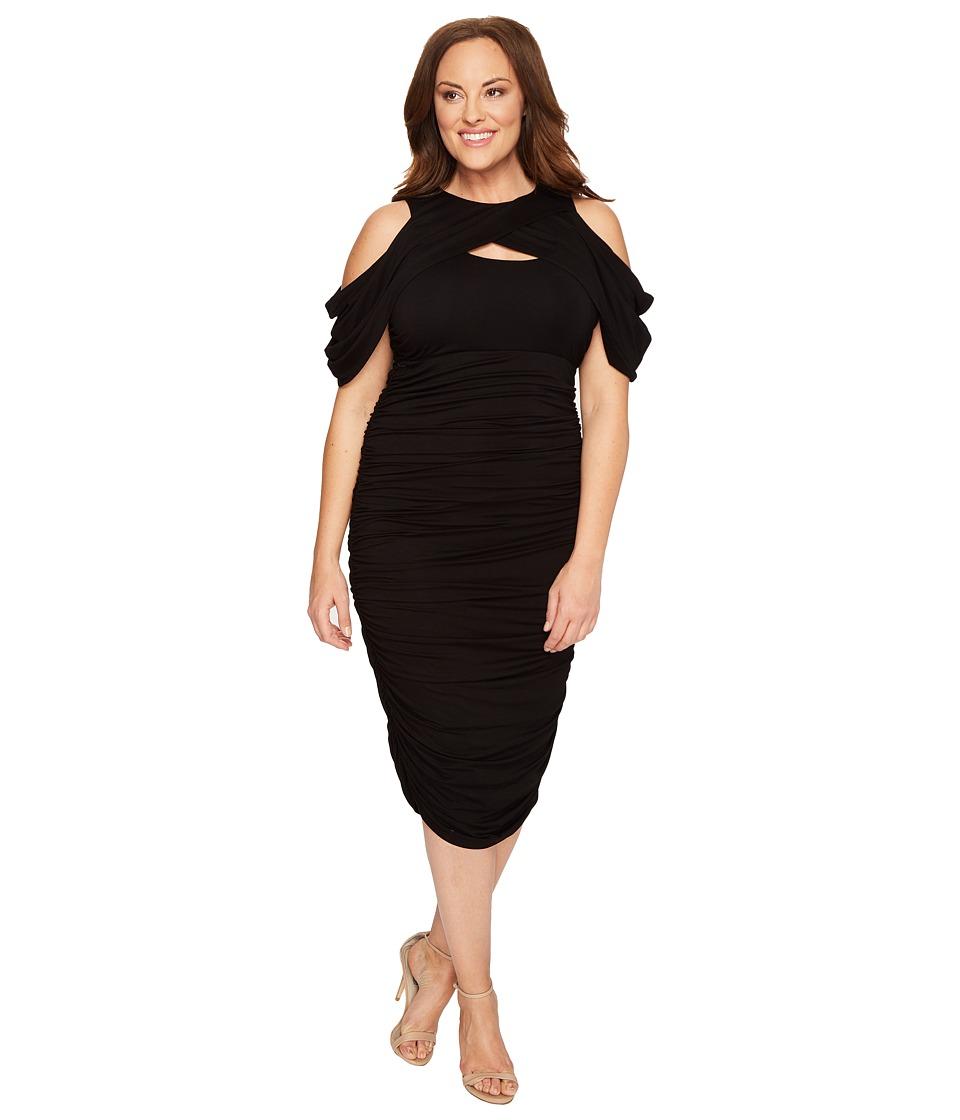 Kiyonna Bianca Ruched Dress (Black Noir) Women
