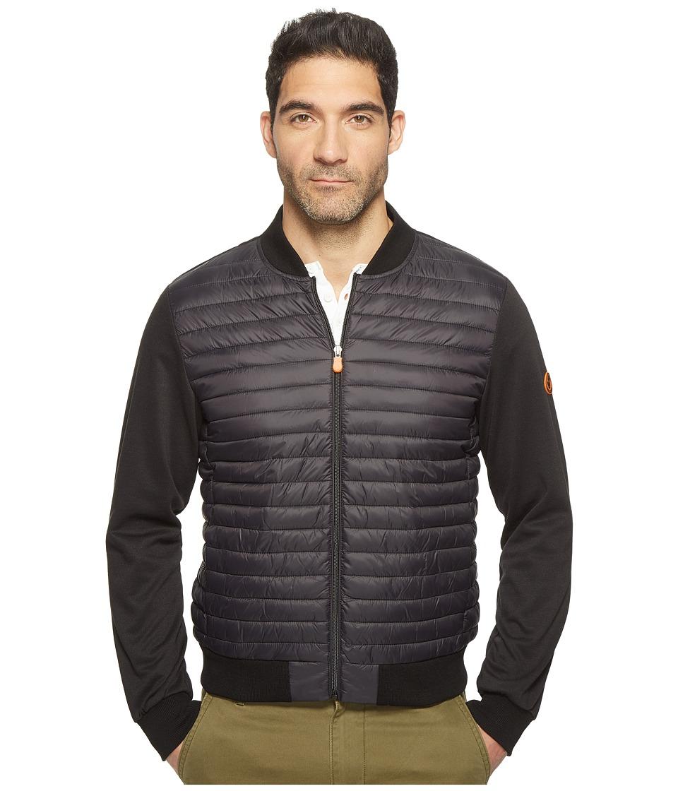Save the Duck - Full Zip Baseball Collar Knit Nylon No Hood Jacket (Black) Mens Coat