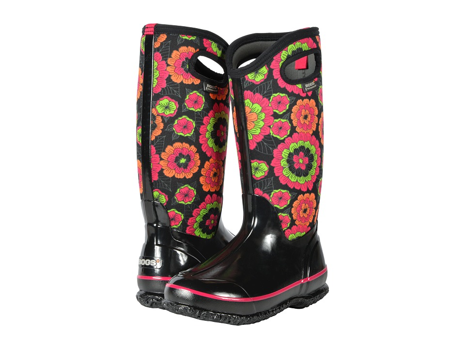 Bogs Classic Tall (Black Multi Pansies) Women