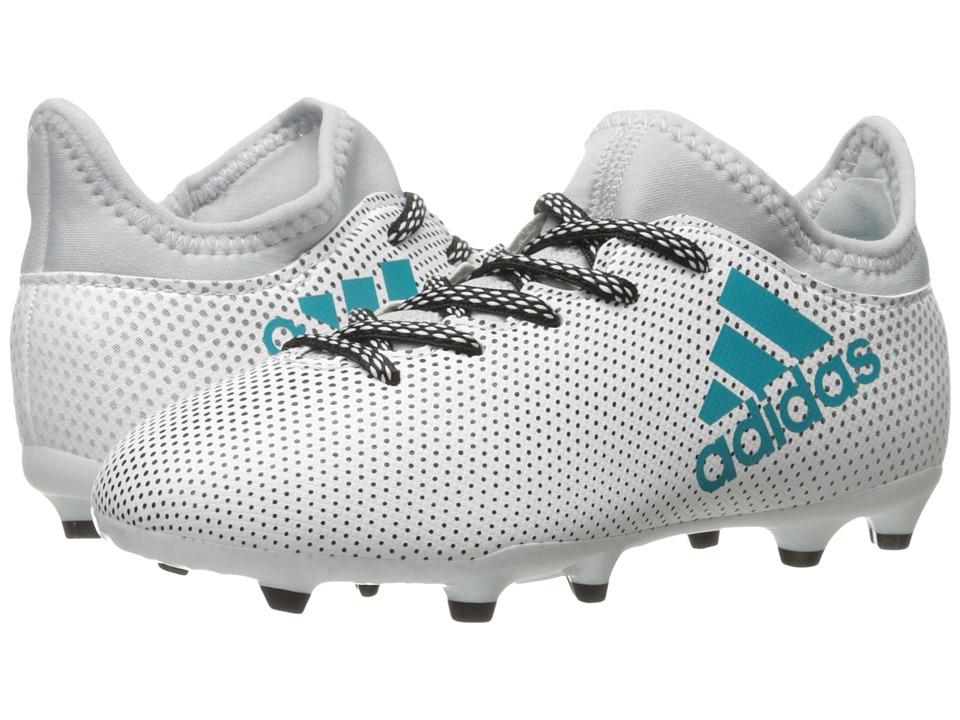 adidas Kids X 17.3 FG J Soccer (Little Kid/Big Kid) (Footwear White/Energy Blue/Clear Grey) Kids Shoes