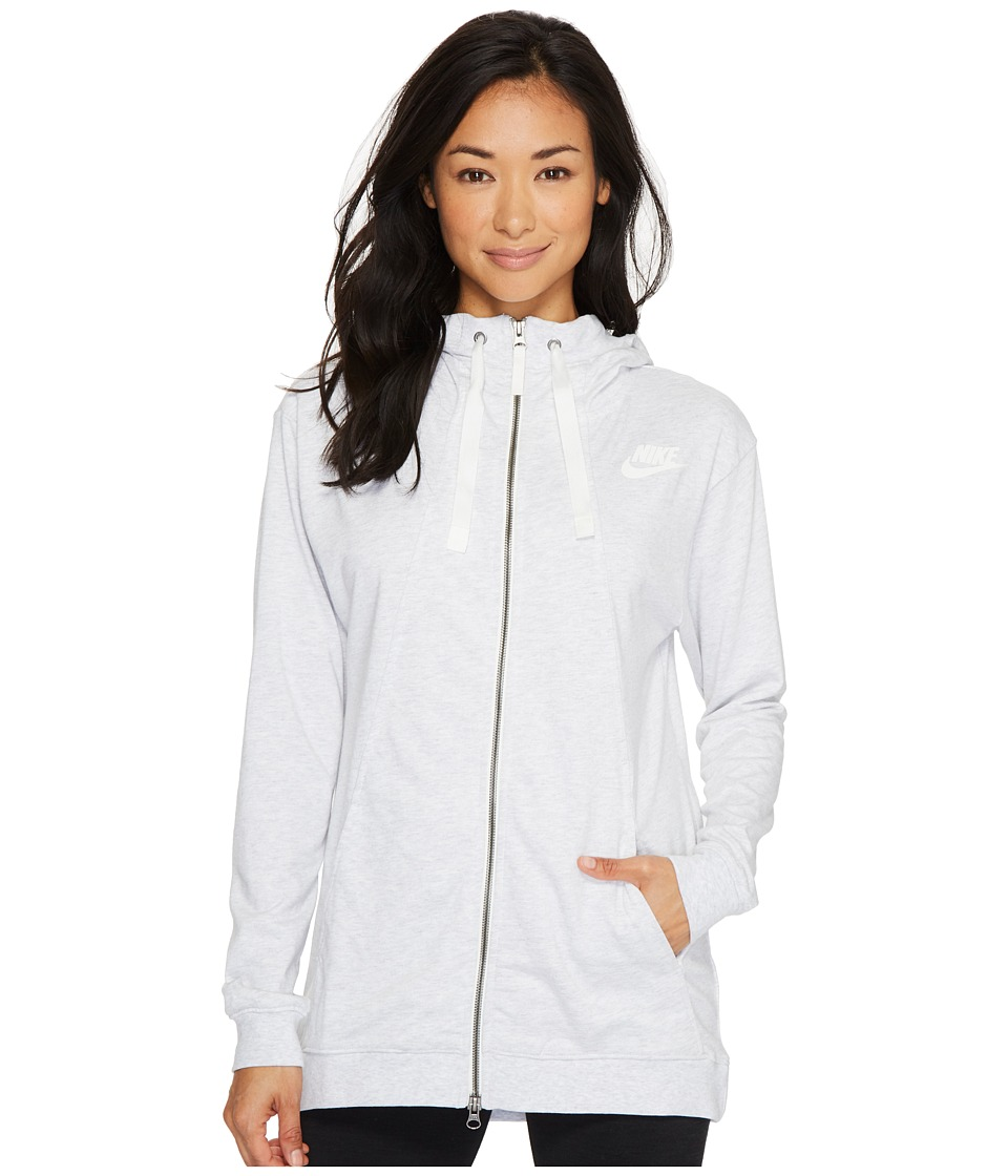 Nike Sportswear Gym Classic Full Zip Hoodie (Birch Heather/Sail) Women