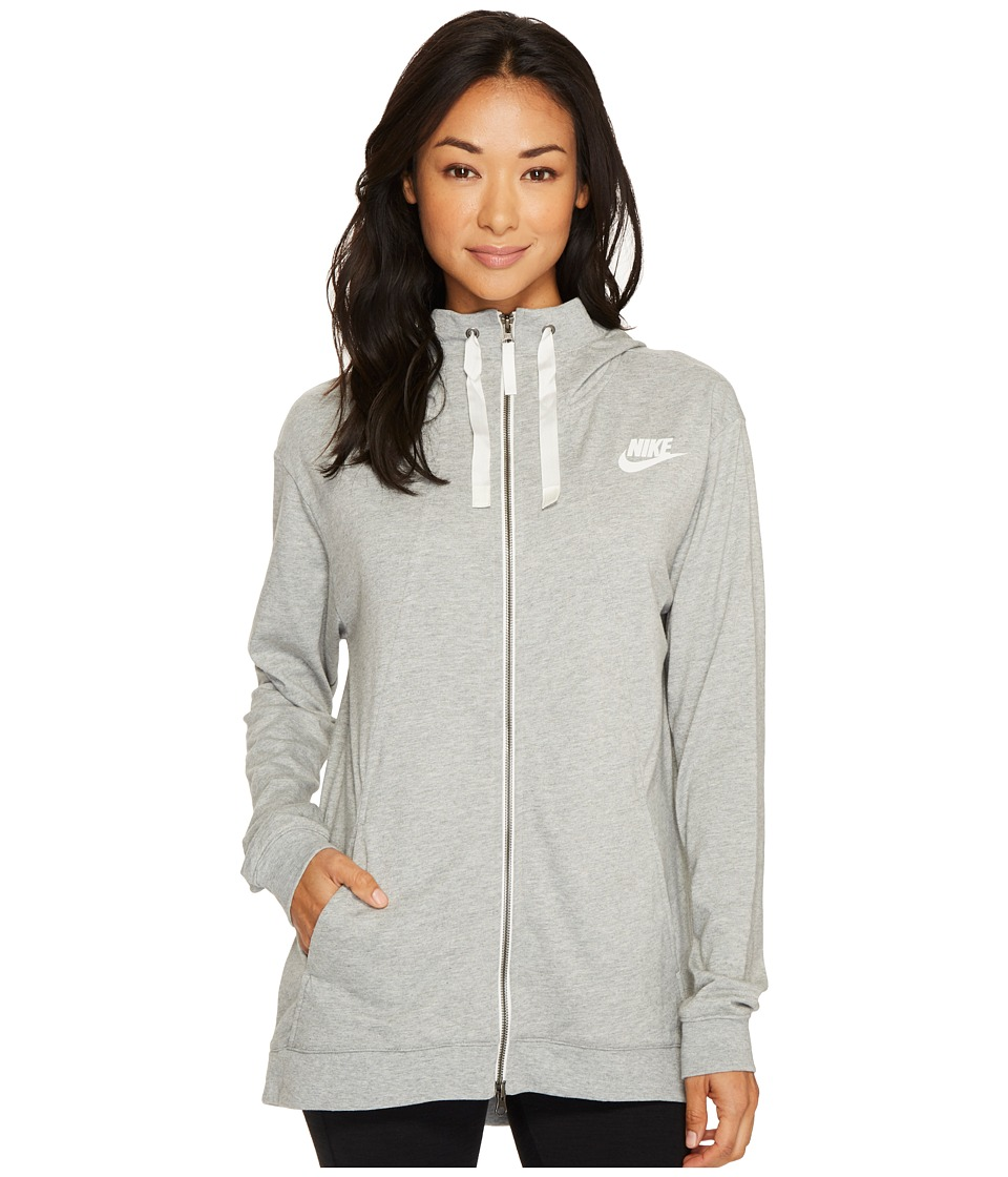 Nike Sportswear Gym Classic Full Zip Hoodie (Dark Grey Heather/Sail) Women