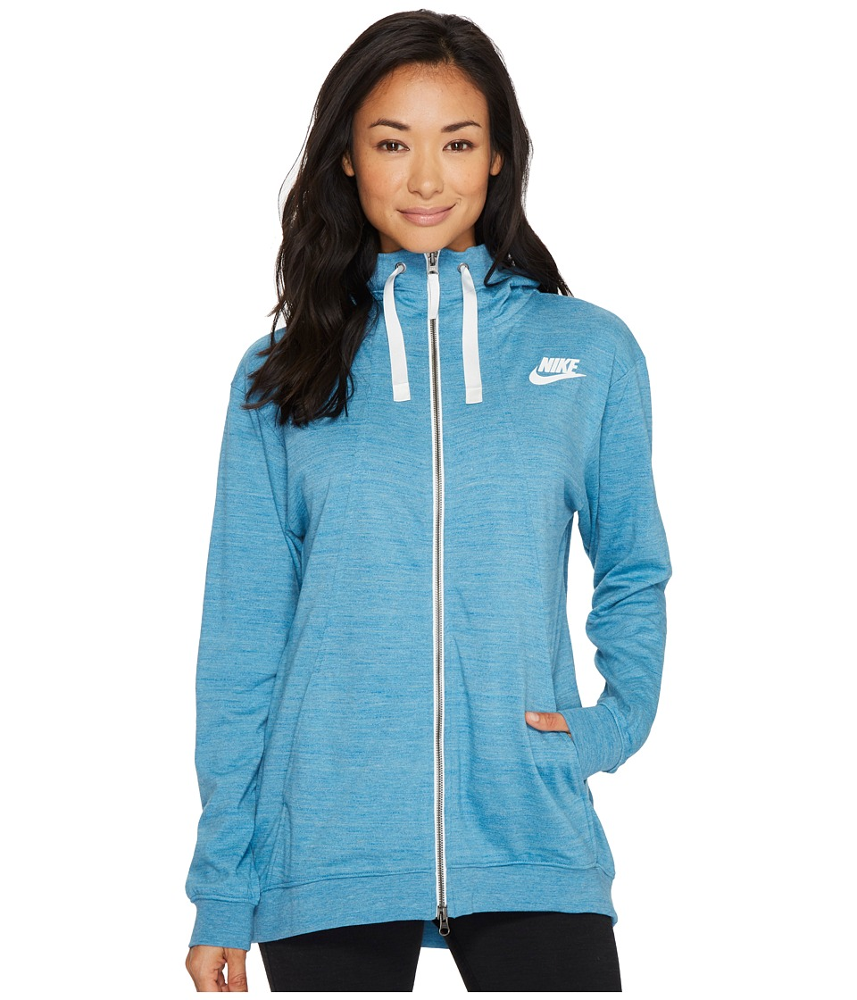 Nike Sportswear Gym Classic Full Zip Hoodie (Cerulean/Heather/Sail) Women