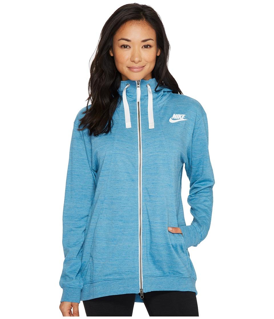 Nike Sportswear Gym Classic Full Zip Hoodie (Cerulean/Heather/Sail) Women
