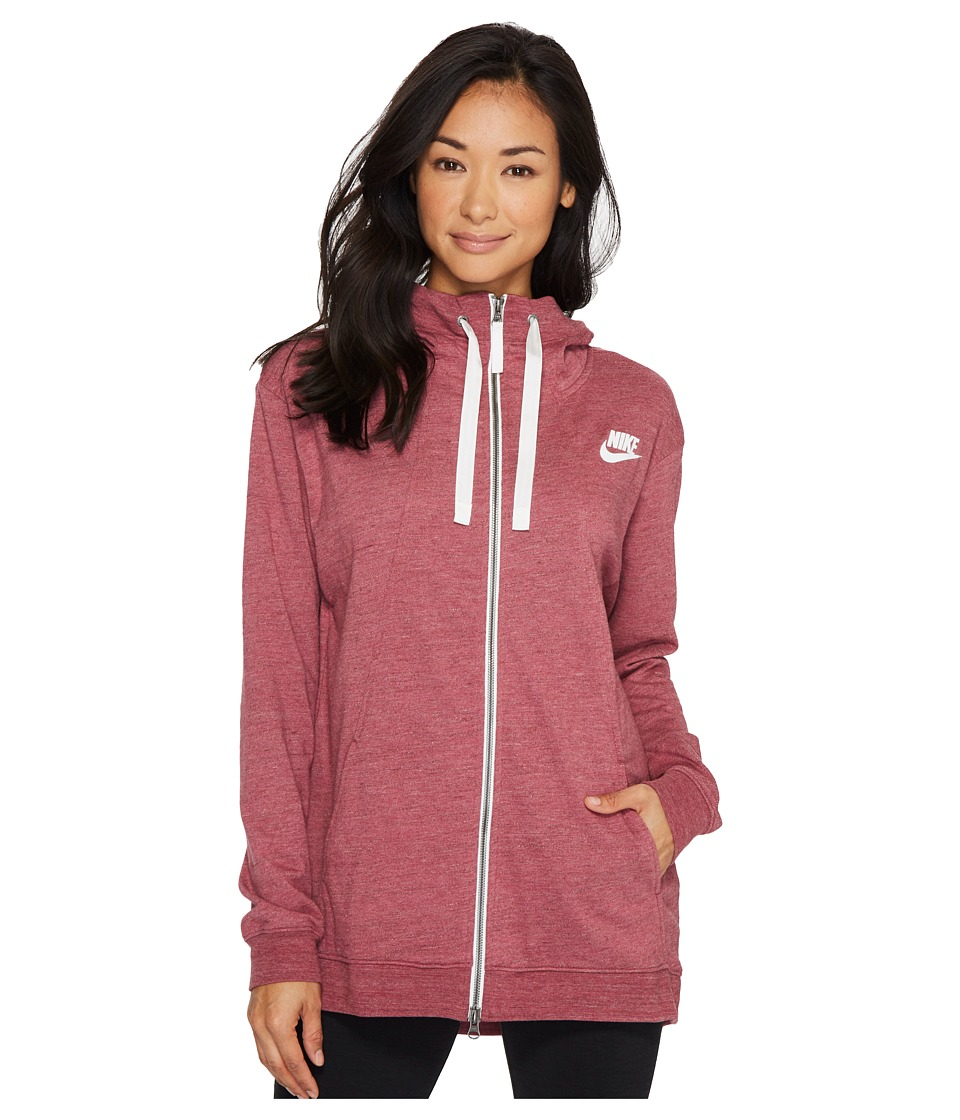 Nike Sportswear Gym Classic Full Zip Hoodie (Port/Heather/Sail) Women