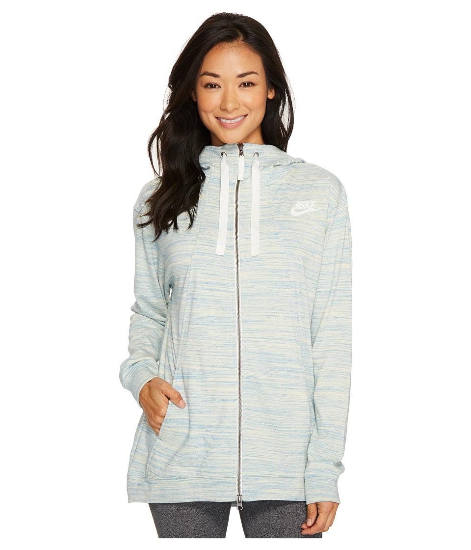 Nike Sportswear Gym Classic Full Zip Hoodie (Light Armory Blue/Heather/Sail) Women